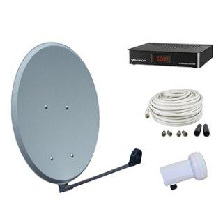 Vistron Digitale HDTV SAT-Anlage SES45-VT25, HD Profi Single LNB, Receiver VT25